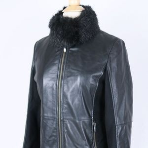 GIORGIO ARMANI Black LEATHER WOOL Jacket 40 XS / S